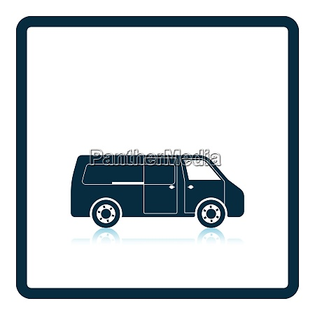 commercial van icon shadow reflection design
