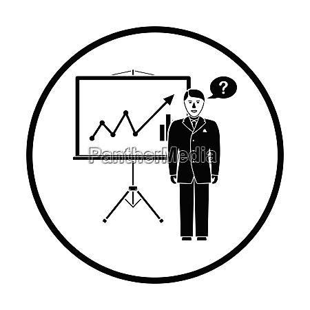 clerk near analytics stand icon thin