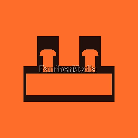 electrical connection terminal icon orange background