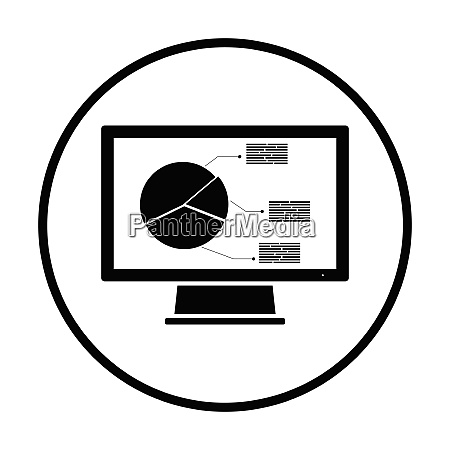 monitor with analytics diagram icon thin