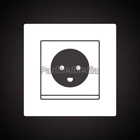 austria electrical socket icon black background