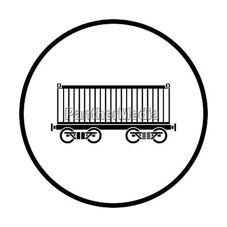 railway cargo container icon thin circle
