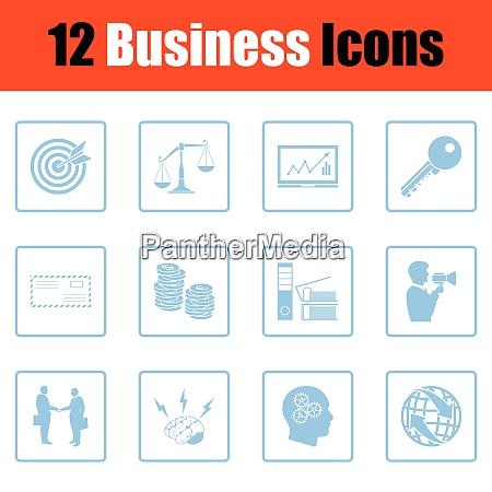 business icon set blue frame design