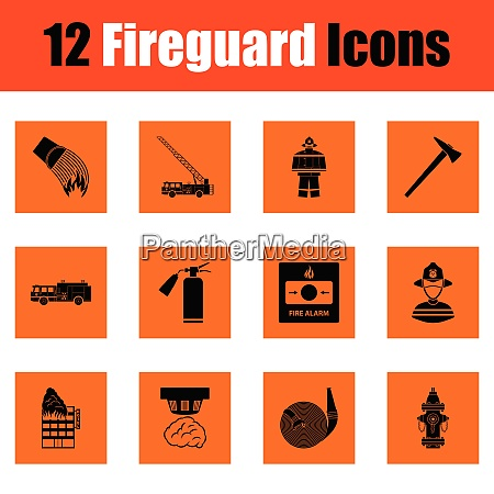 set of fire service icons orange