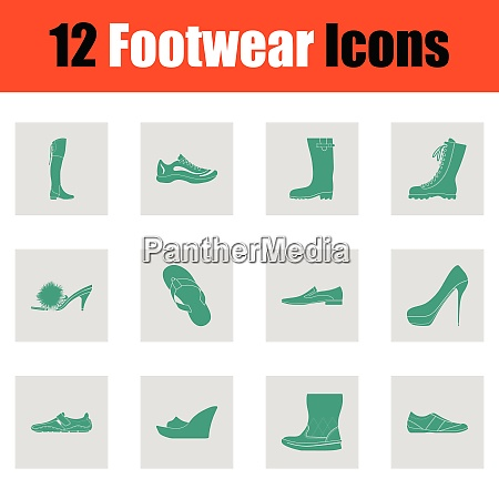 set of footwear icons green on