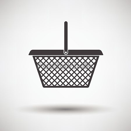 supermarket shoping basket icon on gray