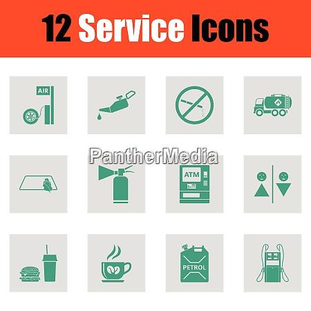 set of twelve petrol station icons