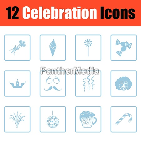 set of celebration icons blue frame