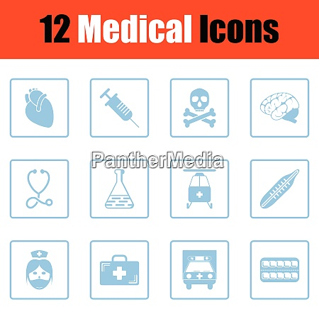 medical icon set blue frame design