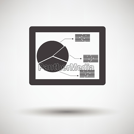 tablet with analytics diagram icon on