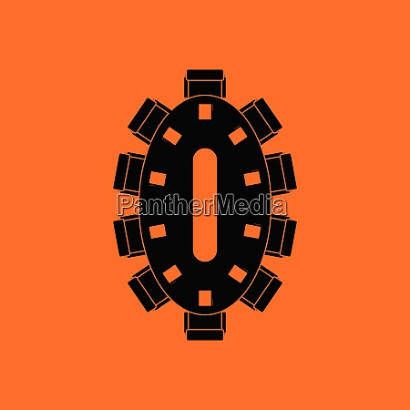 negotiating table icon orange background with