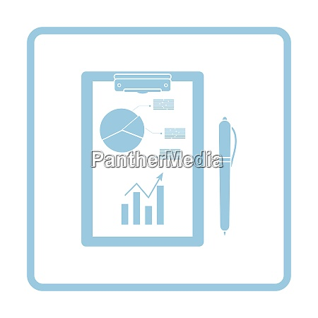writing tablet with analytics chart and