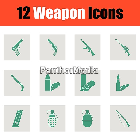 set of twelve weapon icons set
