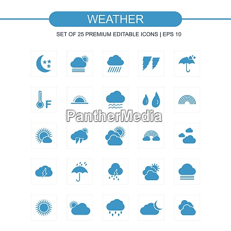weather icons set blue for web