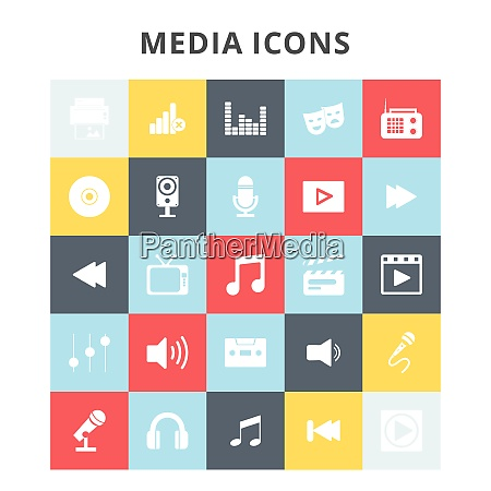 media icons for web design and