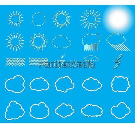 set of nature symbols sun clouds