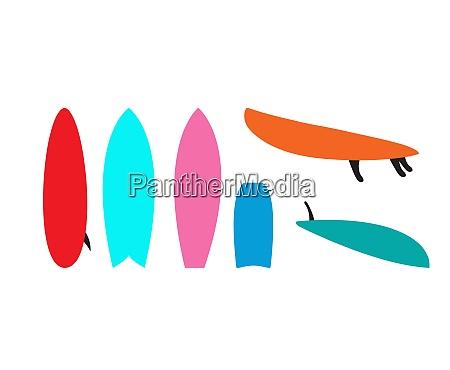 set of windsurfing boards vector illustration