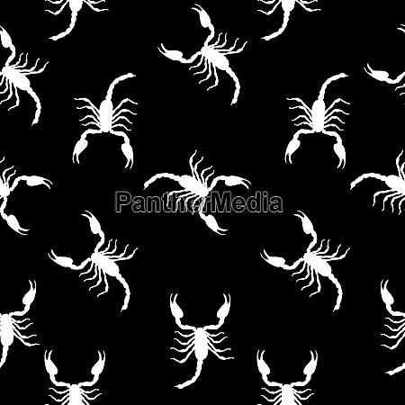 large scorpion silhouette seamless pattern background