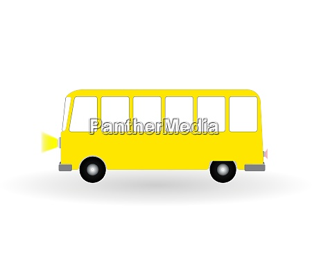 cartoon cheerful minibus isolated on white