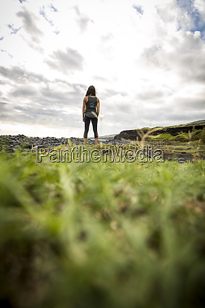 rear view of lone woman with