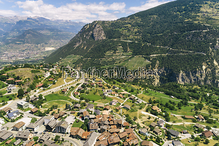 aerial view of swiss mountain village