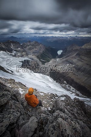 view from above of hiker in