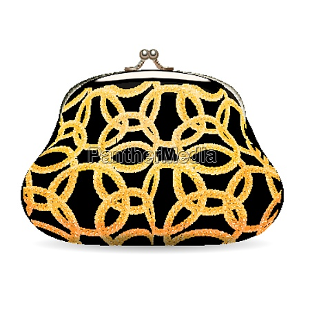 female wallet with gold chain pattern