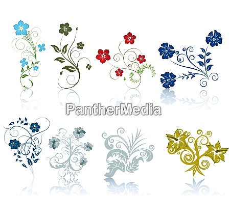 set of different flowers pattern for