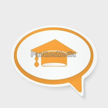 speech bubble with hat graduate