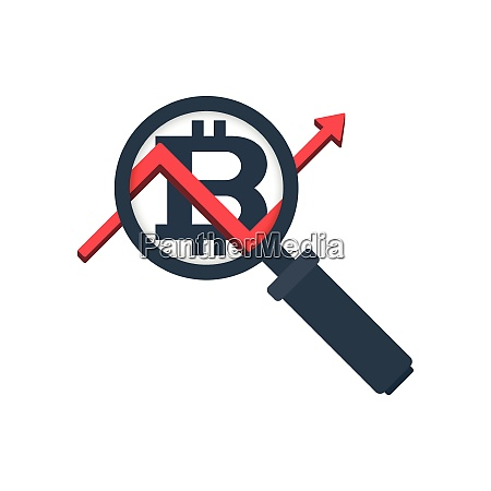 magnifying glass icon with bitcoin and
