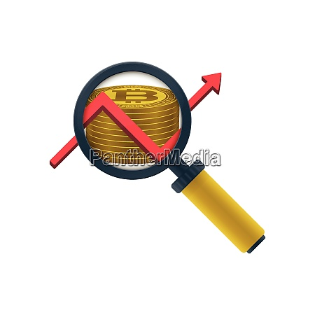 gold colored bitcoins stack graph magnifying