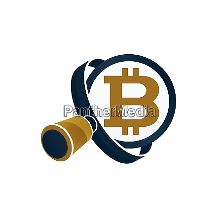black magnifying glass gold colored bitcoin