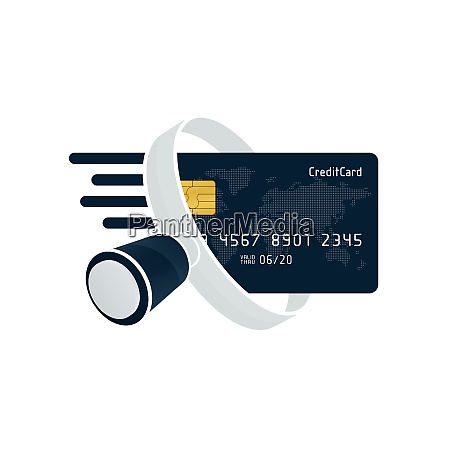black credit card and white magnifying
