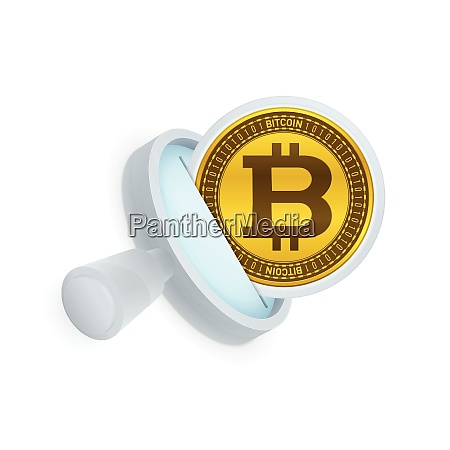 bitcoin and magnifying glass symbol