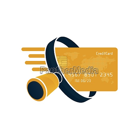 yellow credit card and black magnifying