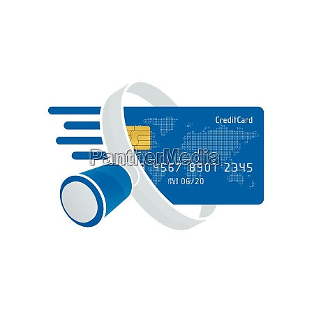 blue credit card and white magnifying