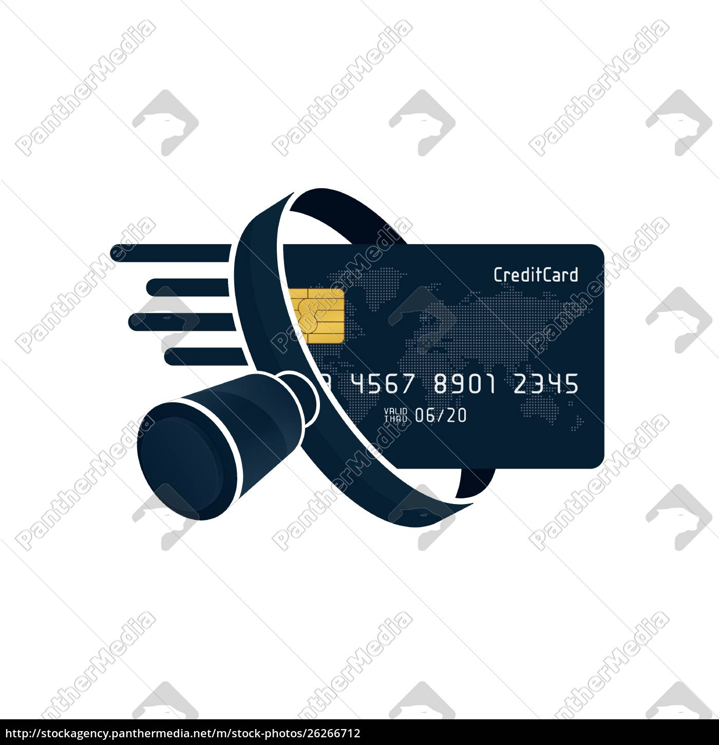 black, credit, card, and, magnifying, glass - 26266712