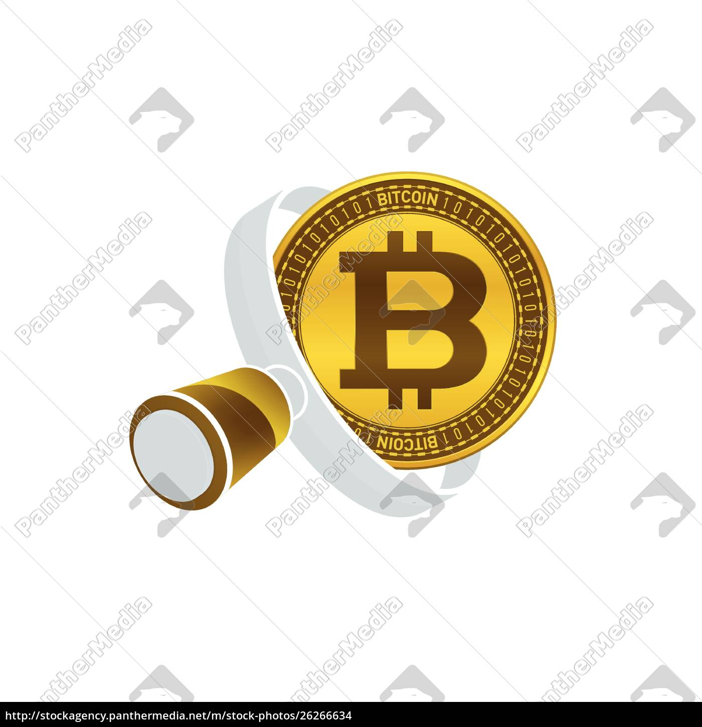 gold, colored, bitcoin, , white, magnifying, glass - 26266634