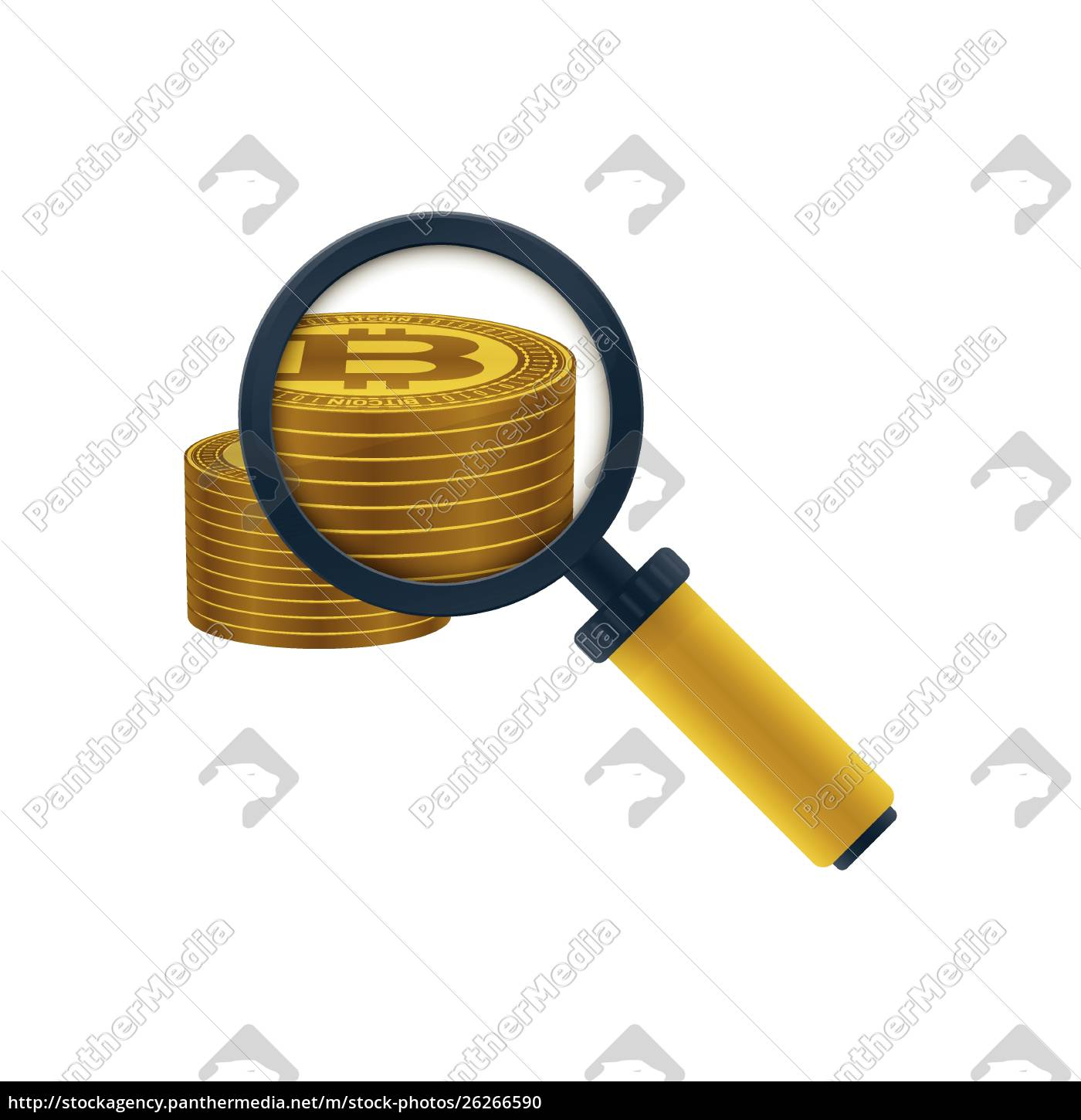 gold, colored, bitcoins, stack, and, magnifying - 26266590