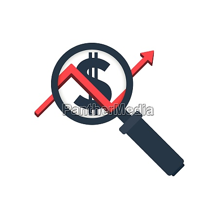 magnifying glass icon with graph and