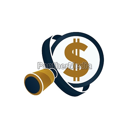 black magnifying glass gold colored dollar