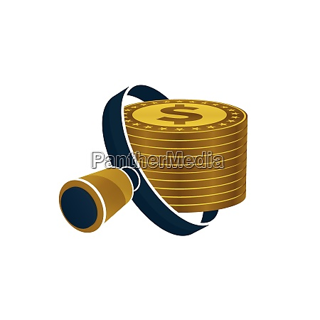 black magnifying glass gold colored dollars
