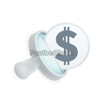 white magnifying glass and black dollar