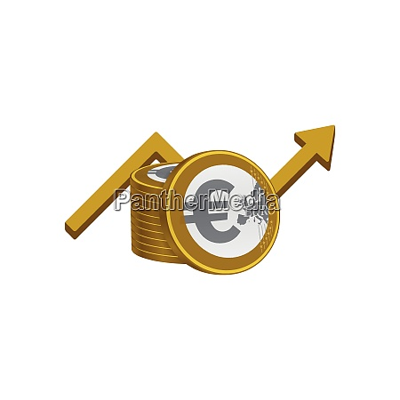euros stack and growth symbol
