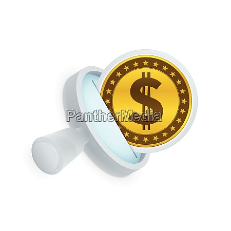 dollar coin and magnifying glass symbol