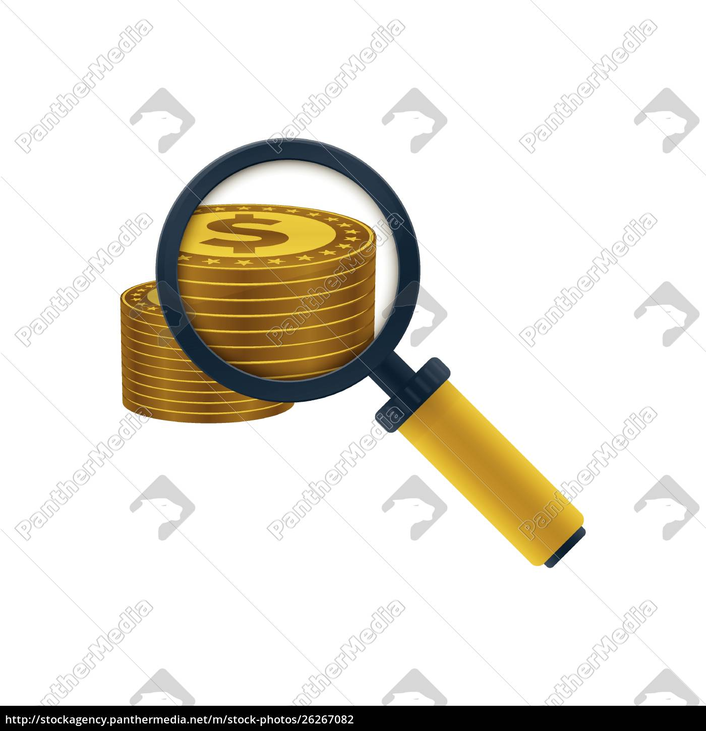 gold, colored, dollars, stack, and, magnifying - 26267082