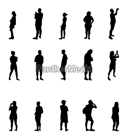 black and white silhouettes of people