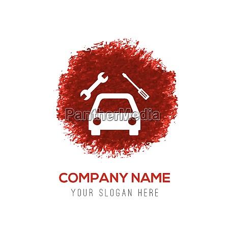 repair car icon red watercolor