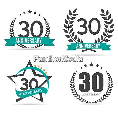 template logo 30 years anniversary set