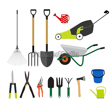 garden tools instruments flat icon collection